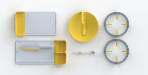 Utensilios para ciegos: cuchillo, tabla, tapadera, medidor de líquidos y bases para ollas y sartenes